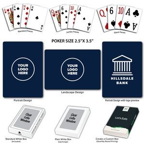 Solid Back Navy Poker Size Playing Cards