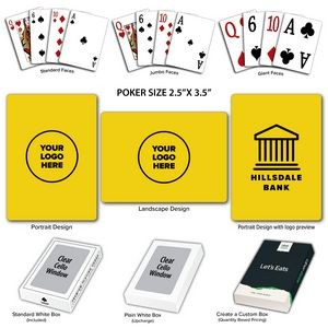Solid Back Yellow Poker Size Playing Cards w/Regular Face
