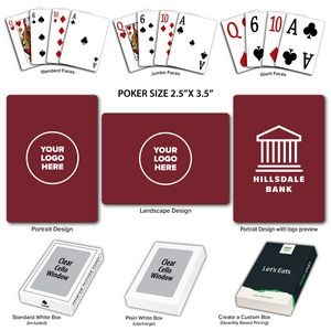Solid Back Burgundy Poker Size Playing Cards