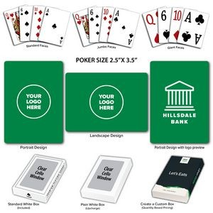 Solid Back Green Poker Size Playing Cards